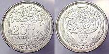 20 Piastre Piastres 1917 British Occupation Egitto Egypt Argento Silver #1630
