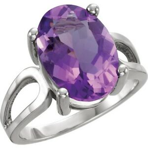 Platinum Oval Amethyst Solitaire Ring