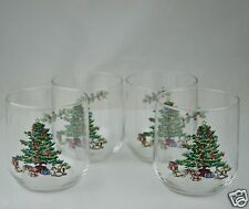 VINTAGE GLASSWARE BARWARE PARTY 4 BRANDY ROCK GLASS SET CHRISTMAS TREE RED GREEN