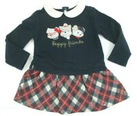 TODDLER GIRLS MAYORAL NAVY BLUE RED PLAID PUPPY FRIENDS JERSEY DRESS SIZE 24 MON