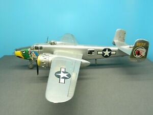 "1/48 BUILT Model Aircraft Monogram B-25J MITCHELL BOMBER ""LADY LIL"" Metal Finish"