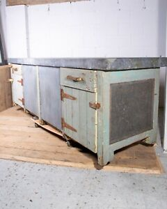 Huge Vintage Industrial Zinc Topped Workbench Cabinet