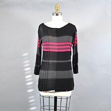 Anne Klein Women's Color Block Pullover Sweater Black Pink Long Sleeve Sz Med