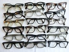 True Vintage Mens Lot of 18 Thick Plastic Hornrim 1960's Eyeglasses Frames #3226