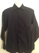 BEN SHERMAN Black Blue Textured Long Sleeve Dress Shirt 15 1/2 32/33