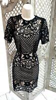 🌹BOOHOO BOUTIQUE🌹 LILA BLACK CROCHET LACE PENCIL WIGGLE DRESS PARTY UK 10 NEW