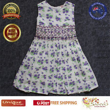 Smocked Dress Girls Purple Floral Printed Smocked Sleeveless  Summer Dress