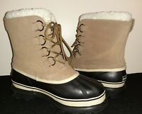 Ozark Trail Men's Size 10 Snow Boots Tan Suede Leather Thinsulate Winter Duck