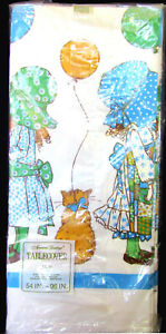 """1973 AMERICAN GREETINGS HOLLY HOBBIE PAPER TABLECLOTH 54"""" X 96"""" NEW UNOPENED"""