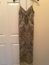 Vince Green Combo Floral Spaghetti Straps 100% Silk Maxi Dress Size XS NWT #1
