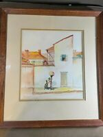 "G Criswell 1934 ""Slave Quarters New Orleans"" Watercolor Painting - Signed/Framed"