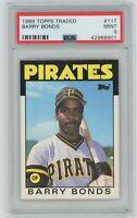 1986 Topps Traded BARRY BONDS ROOKIE PSA MINT 9 Pirates #11T ⚾️ Baseball CARD