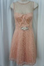 Betsy & Adam Dress Sz 12 Peach Lace Overlay Beaded Pleated Cocktail Party Dress