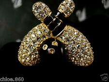 Signed Swarovski Pave' Crystal Bowling Ball Pin~Brooch Retired Rare New