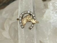 14K Gold Diamond Horseshoe Horsehead Horse Ring Size 6