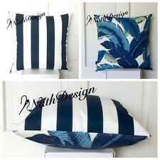 Genuine Tommy Bahama Blue & White Swaying Palm Leaf / Stripes 45cm Cushion Cover