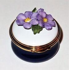 Ashley English Enamel Box - Purple Michaelmas Daisy Bonbonniere -Flowers- Asters