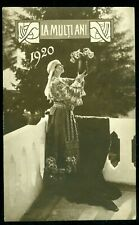 1920 Queen Marie,Regina Maria wearing Folk costume,Happy New Year,Romania,p.card