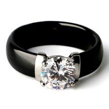 White Black Ceramic Rings Plus Big Cubic Zirconia For Women Stainless Steel