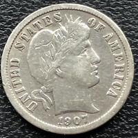 1907 Barber Dime 10c Circulated #28656