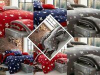 Teddy Bear Fleece Bedding Star Duvet Cover Set Printed Cozy Warm Winter