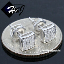 MEN WOMEN 925 STERLING SILVER 6MM LAB DIAMOND ICED SCREW BACK STUD EARRING*E131