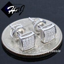 MEN WOMEN 925 STERLING SILVER 6MM LAB DIAMOND ICED SCREW BACK STUD EARRING*E131