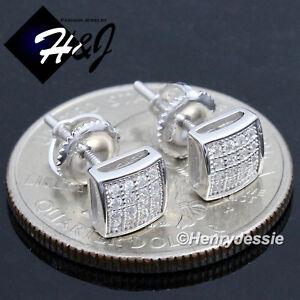 MEN WOMEN 925 STERLING SILVER 6MM ICY BLING DIAMOND SCREW BACK STUD EARRING*E131