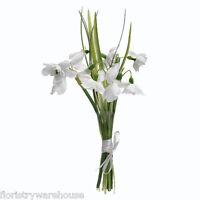 Kunstseide Schneeglöckchen Bündel 5 Stielen von Blumen Gebunden mit Satin Band