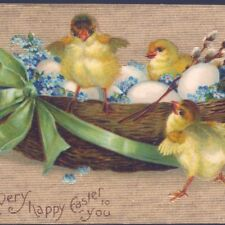 """CLAPSADDLE...EASTER CHICK READY TO """"LAUNCH"""" FROM EGG NEST,GOLD BKGR,OLD POSTCARD"""
