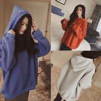 Women Autumn Winter Pullover Hoodie Solid Color Warm Casual Sweatshirt Hoodies