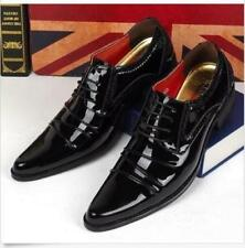 Men Patent Leather Pointy Toe Llace Up Oxfords Casual Brogue Dress Formal Shoe Q