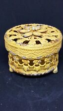 Vintage Style Yellow Metal Trinket Box Home Decor Gift Shabby Decoration Chic