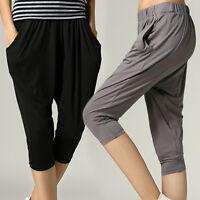 New Womens Cropped Harem Pants Trousers AU Size 8 10 12 14 16 18 20 22 #2008