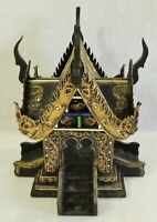 """Antique/Vtg Large 14.5"""" Ornate Carved Wood Gold Embellished House Art Sculpture"""