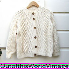Vtg IRISH HANDMADE WOOD BUTTON Cardigan Sweater 100% WOOL thick warm CABLEKNIT L