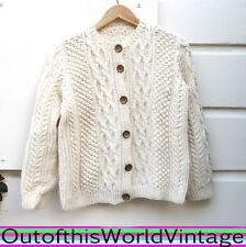 Vtg IRISH HANDMADE WOOD BUTTON Cardigan Sweater 100% WOOL thick warm CABLEKNIT L
