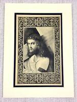 1927 Antico Stampa Gesù Cristo Ritratto la Croce Italiano Vecchio Master Pittura