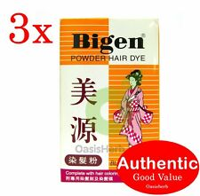 3x Bigen Powder Hair Dye - Black 6g Japan Long Lasting