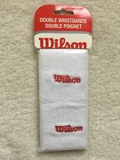Wilson Super Absorbent Double Wristband White With Red Lettering Pack of 2 *New*