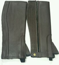 100% Leather Chaps top quality Straight Brown Chaps With Fur Size Large New 61