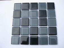 Black & Grey Glass Tiles 25 x pcs for MOSAIC & Glass Crafts Approx 2.2cm x 2.2cm