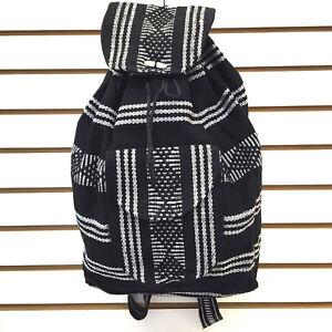 RASTA Bag Beach Hippie Baja Ethnic Backpack Made in Mexico Unisex Black & White