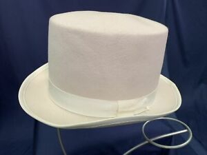 White Wool Top Hat Formal Accessory Adult After Six Topper Size 7 3/8 NOS