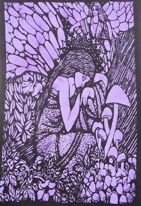 Tapestry Purple Mushroom Angel Yoga Mat Indian Mandala Wall Hanging Poster Throw