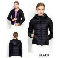 Womens Portable Duck Down Ultralight Hooded Puffer Jacket Coat Outdoor Packable