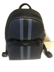 Michael Kors Greyson Leather Stripe Backpack Navy
