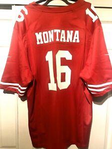 Authentic San francisco 49ers NIKE NFL Jersey Joe Montana #16. SZ 2XL