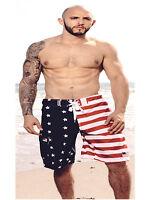 MEN'S USA FLAG  SWIM TRUNK BOARD SHORTS STARS AND STRIPES AMERICAN SWIMTRUNK