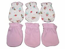 6 Cotton Newborn Baby/infant No Scratch Mittens Gloves - Ice Cream Mix Pink